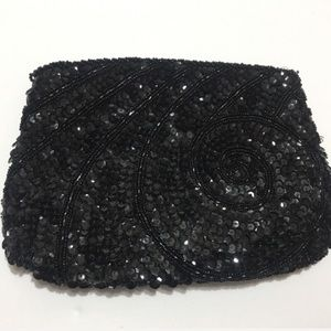 La Regale Black Sequin Clutch Purse or Makeup Bag